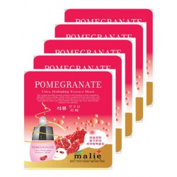 Malie Ultra Hydrating Essence Facial Mask Sheets 16 Type - Pack of 10 Pomergranate