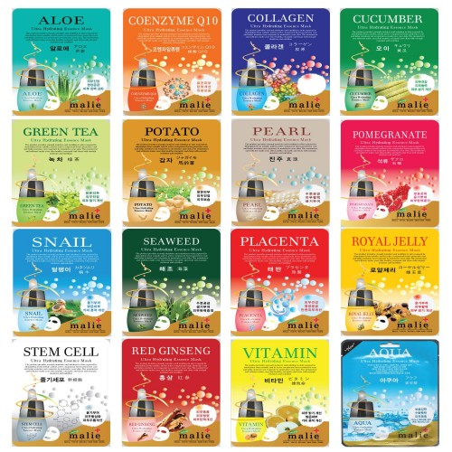 Malie Ultra Hydrating Essence Facial Mask Sheets 16 Type - Pack of 10